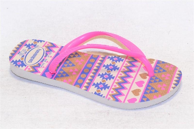 havaianas kids slim fashion beige/pink
